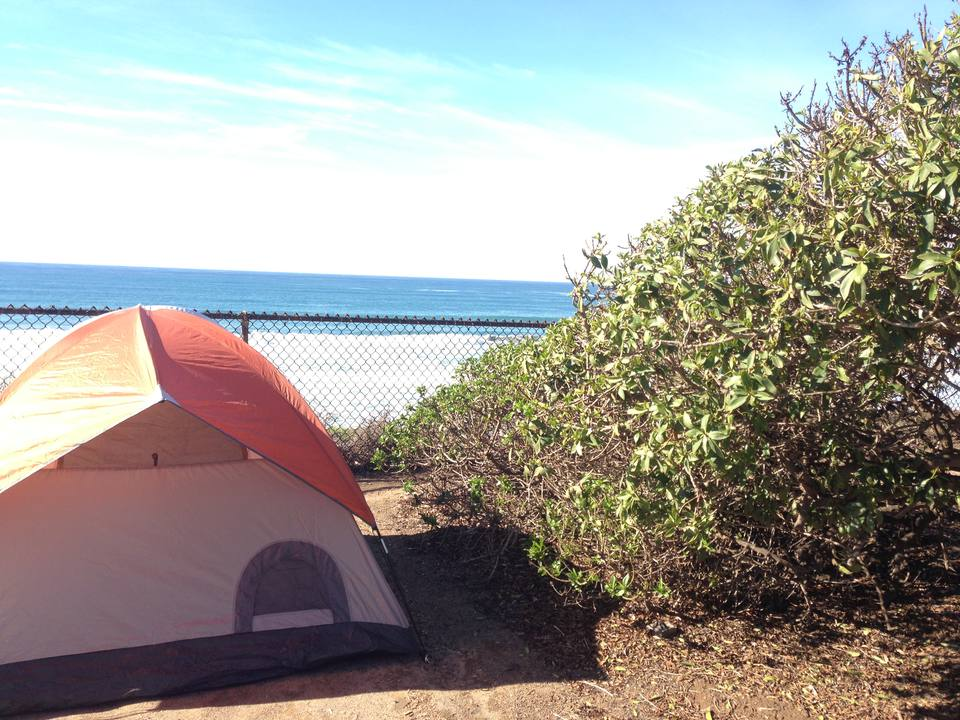 Camping by the beach in San Diego County