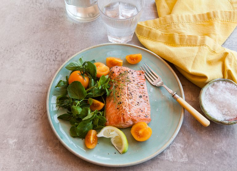 Plate of salmon with salad