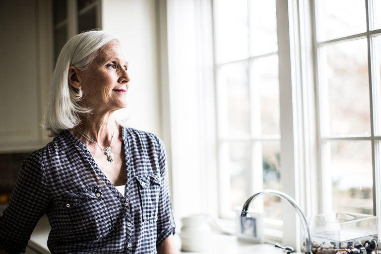Portrait of senior woman in kitchen