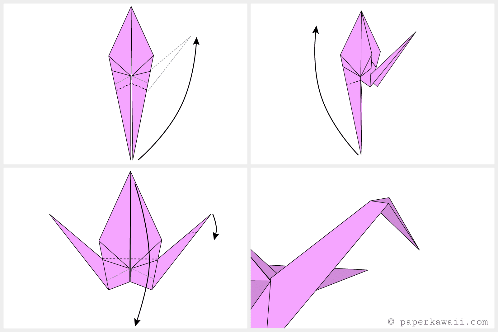 Easy origami crane instructions jeuxipadfo Image collections