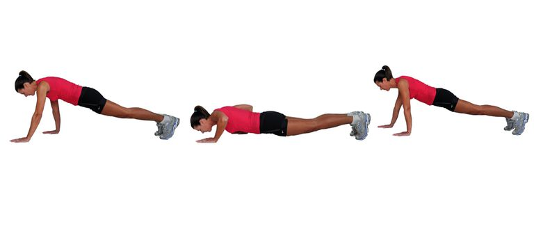 Staggered pushups