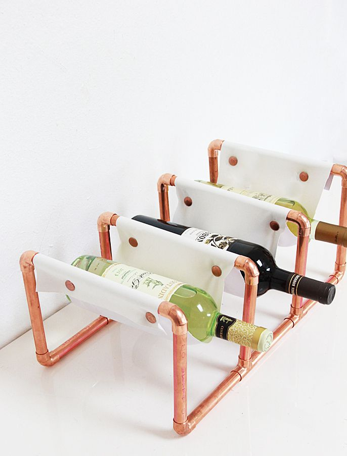DIY Copper And Leather Wine Rack
