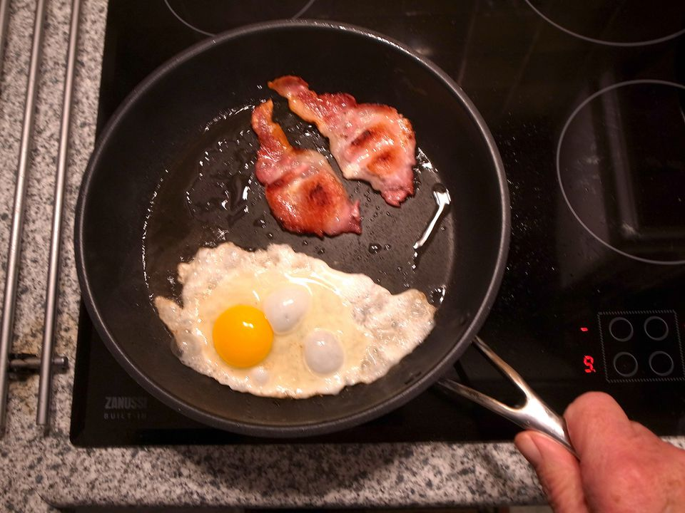 Bacon & eggs in a nonstick frying pan