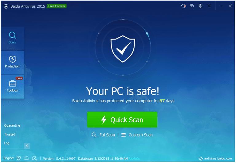 Screenshot of Baidu Antivirus 2015 v5.4.3 in Windows 7