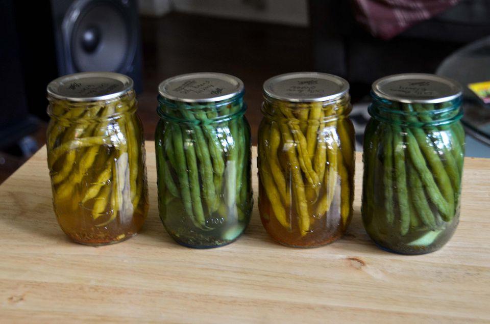 green bean in jar