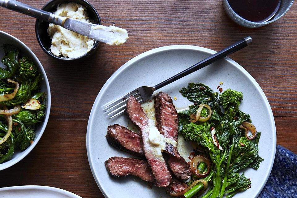 Grilled Sirloin with Lemon Butter & Broccoli Rabe
