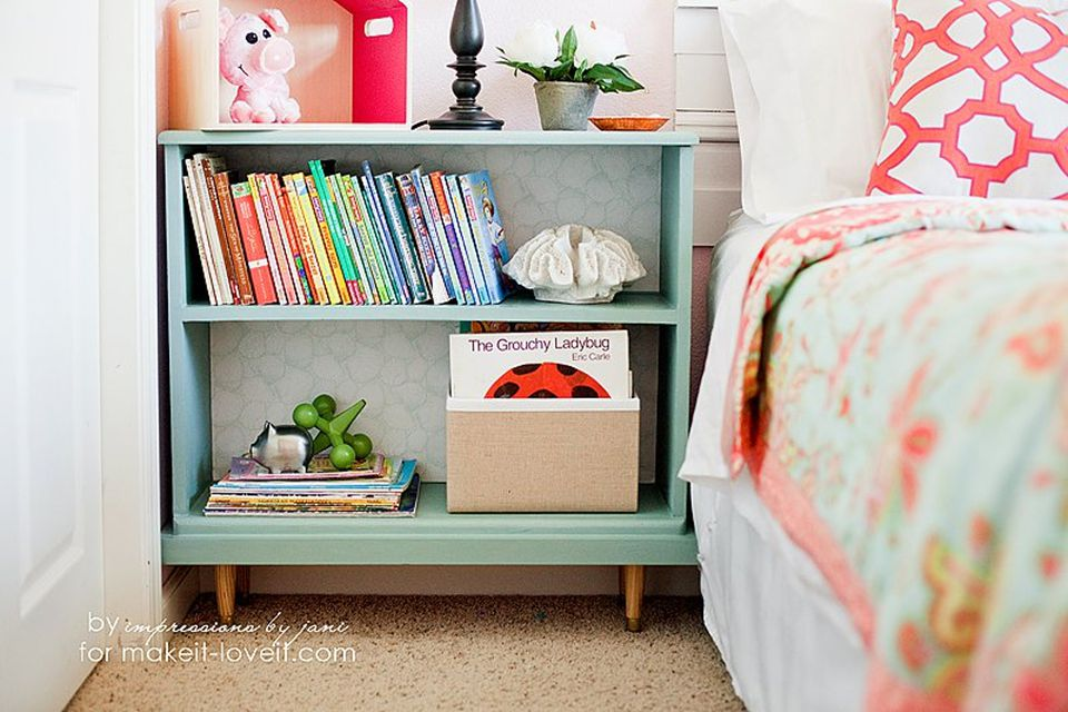 short bookcase with legs repurposed as a nightstand
