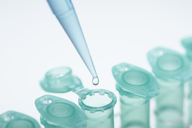 Microliter volumes are commonly dispensed using a micropipette into an eppendorf tube.