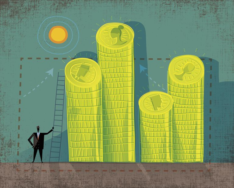 Businessman with ladder and piles of coins with different faces