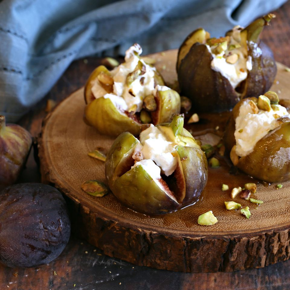 Labneh Stuffed Figs with Honey and Pistachios