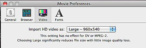 iMovie HD Settings