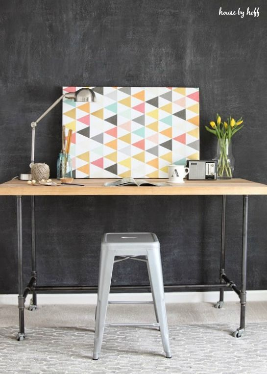 DIY Desk With Piping and Butcher Block by House by Hoff