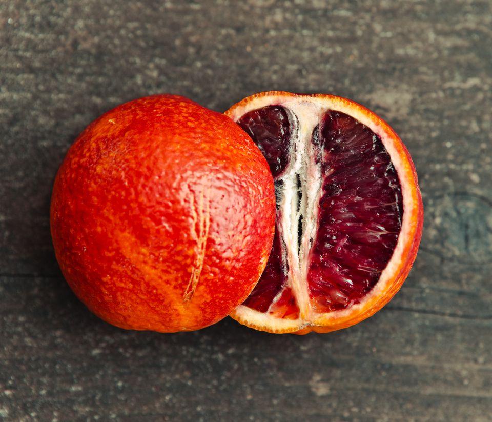 A Single Blood Orange Cut in Half