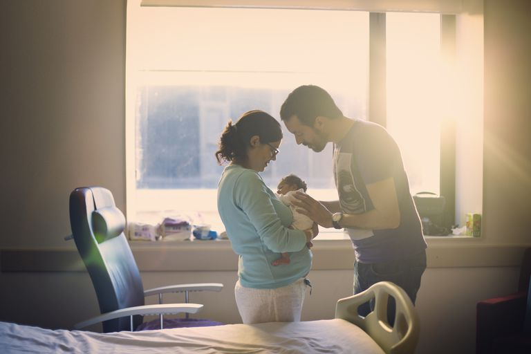Parents with newborn in hospital