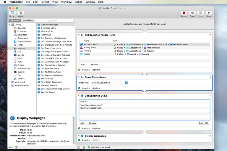 Automator showing completed workflow for opening apps, folders, and URLs