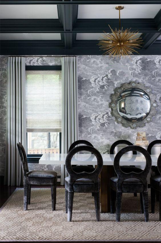 Gray Wallpaper In Dining Room