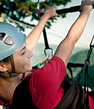 ziplining in vancouver: Ziplining harness at Grouse Mountain