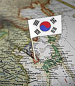 South Korea on the map of Asia