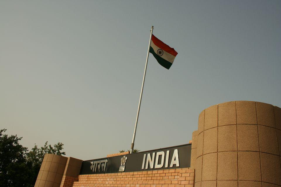 Indian tri-color flying high onswarna jayanti dwar at india-pakistan international border at wagah, Punjab