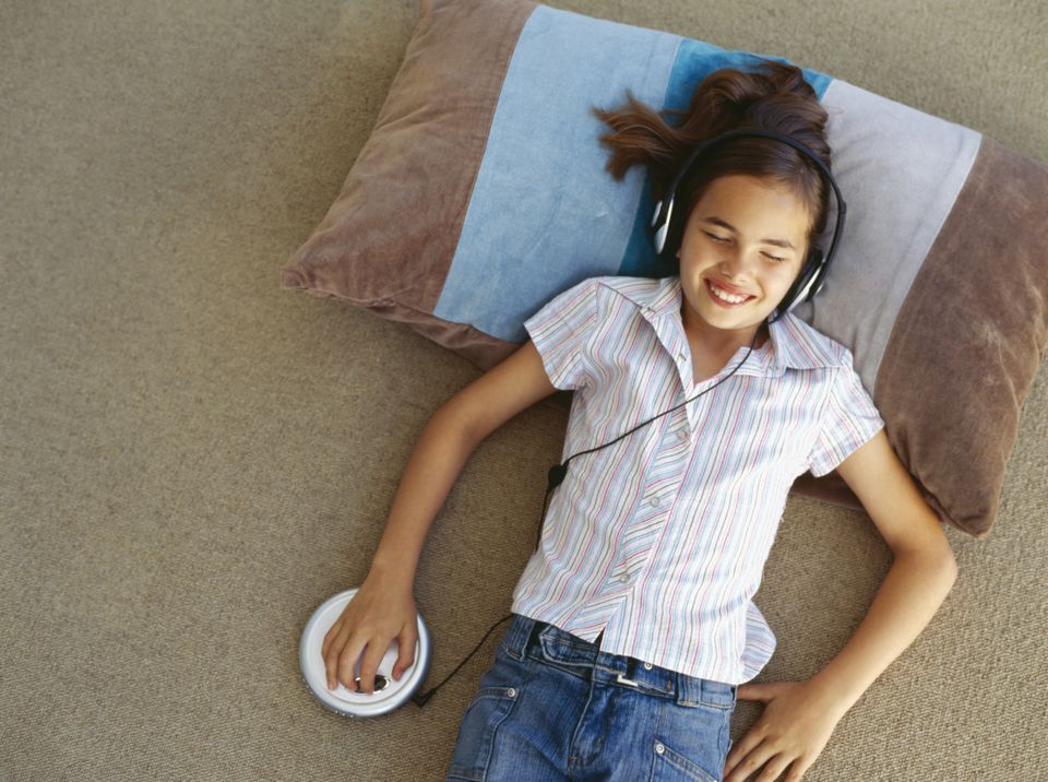 Girl with portable CD player