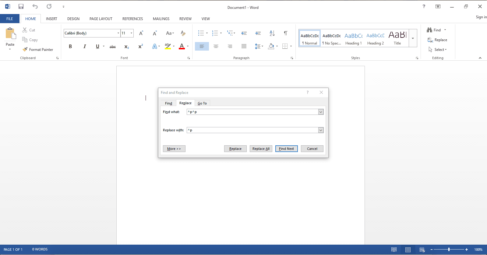 how to remove page break in word document