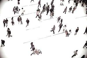 People walking in shopping mall, Hong Kong