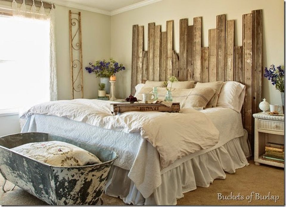 Farmhouse Bedroom With Rustic Wood Headboard