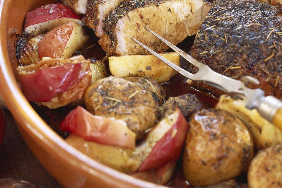 Roast pork loin and potatoes