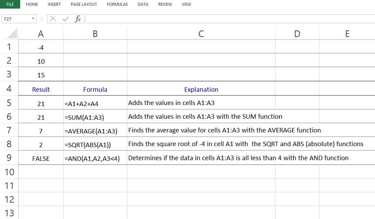Formula Examples in Excel