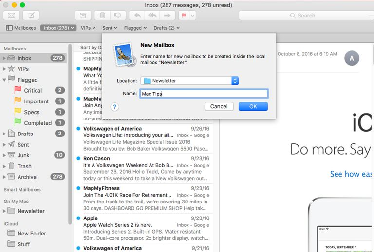 Adding a new Mailbox to the Mac's Mail app.