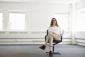 woman in empty work space