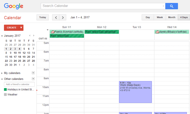 Screenshot of Google Calendar in Google Chrome