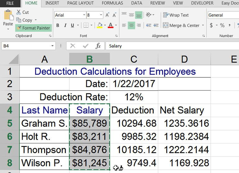 Copy Formatting Between Cells with the Format Painter in Excel