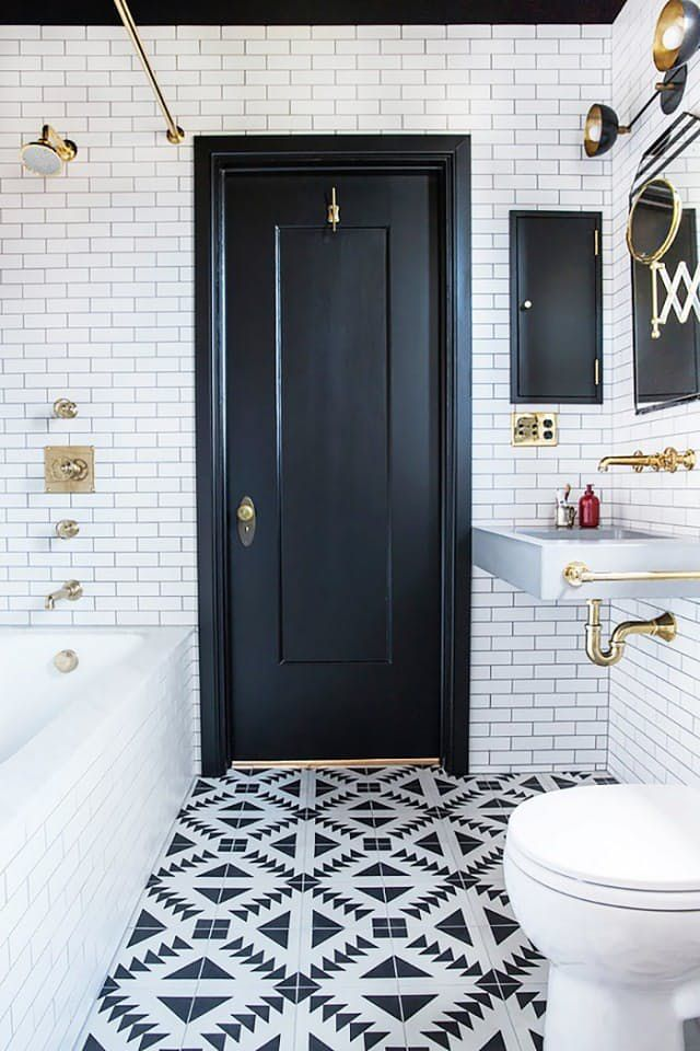 bathroom inspiration small black tile contrast