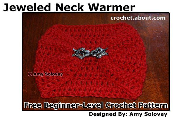 Beginner's Jeweled Crochet Neck Warmer AKA Jeweled Scarflette