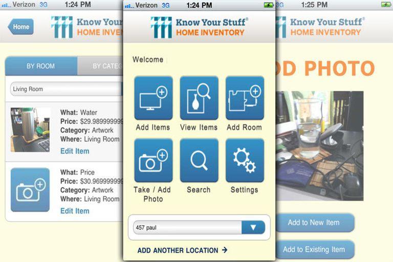 Sceenshot of home inventory app