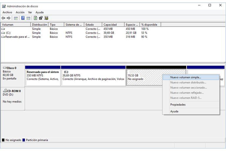 Crear Particiones Windows 10