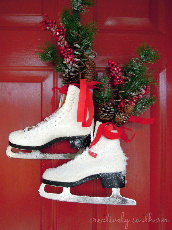 ice skate door decor