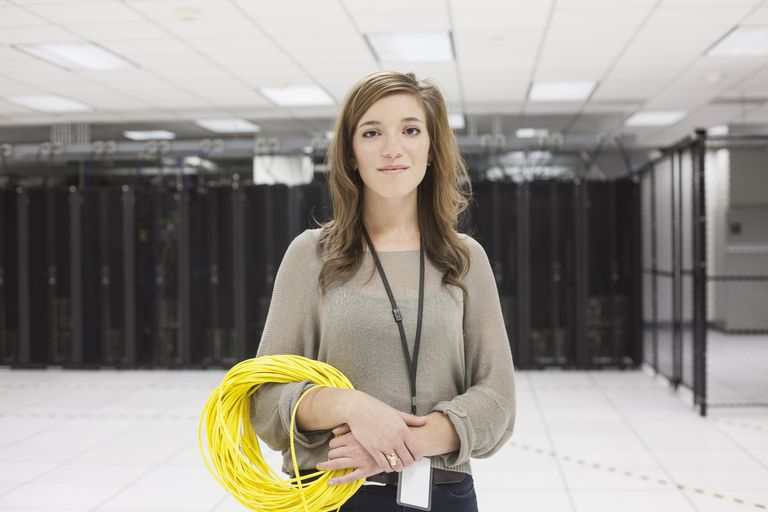 Woman standing in server room