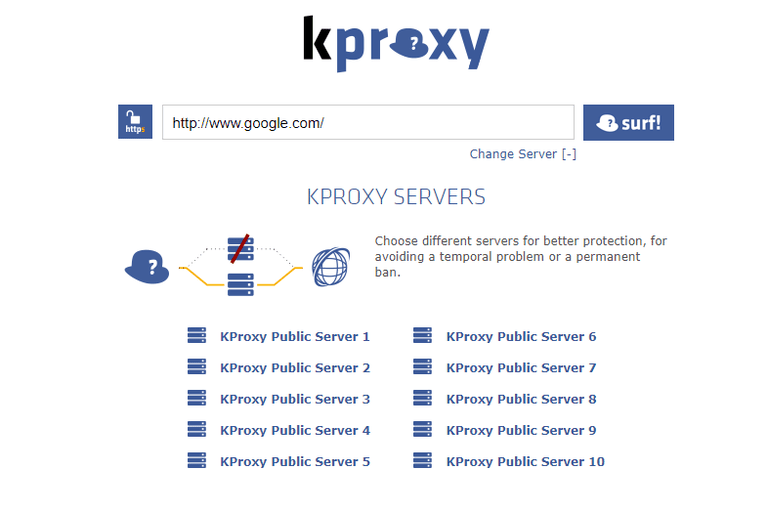 Screenshot of the KPROXY free anonymous web proxy website