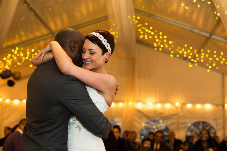 Newlywed couple dancing at reception