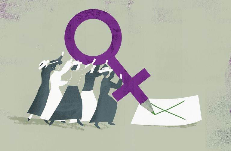 Suffragettes voting with large female gender symbol pencil