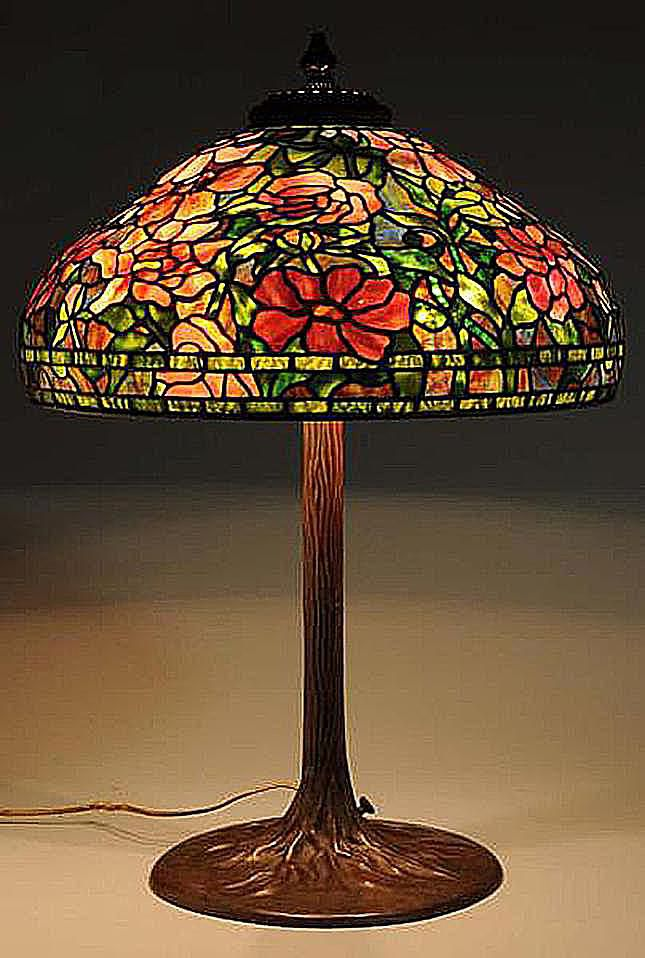 1960s Tiffany Lamp Reproduction with Floral Leaded Glass Shade
