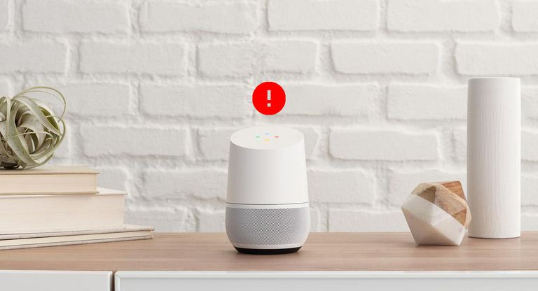 Image of a Google Home device with an icon representing an error floating above it