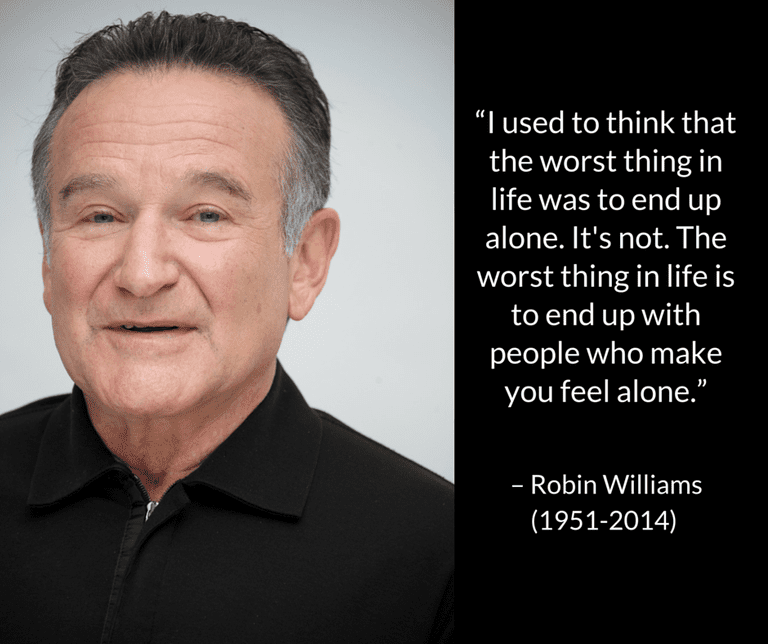 photo and quote about depression by Robin Williams before his suicide