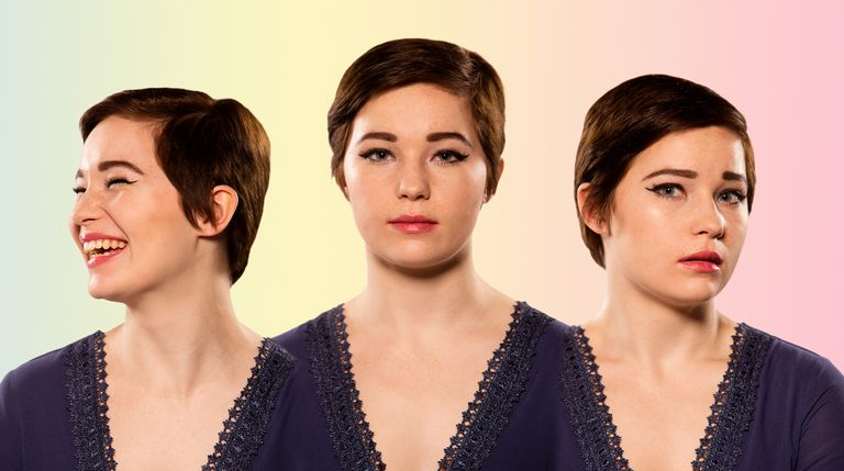 Young woman mood collage