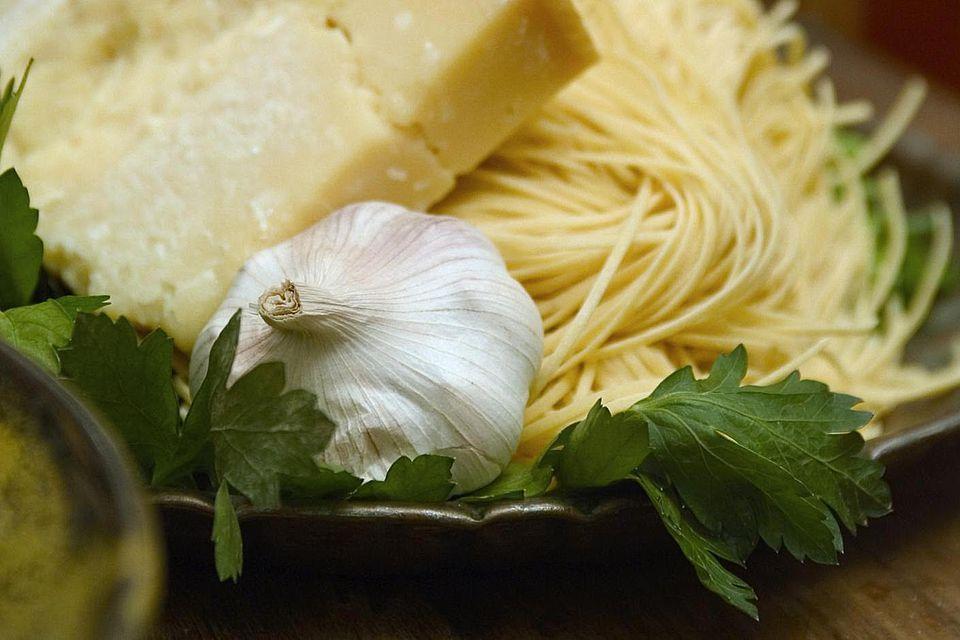 Pasta, permesan cheese and garlic