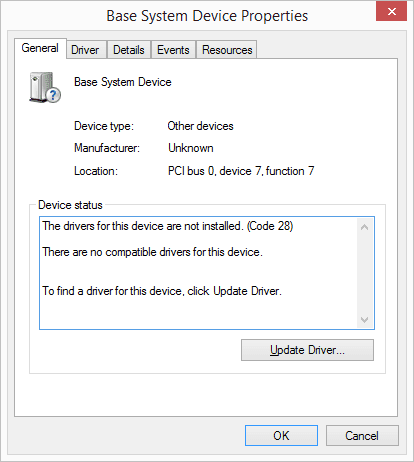 Screenshot of the Device Manager device status in Windows 8