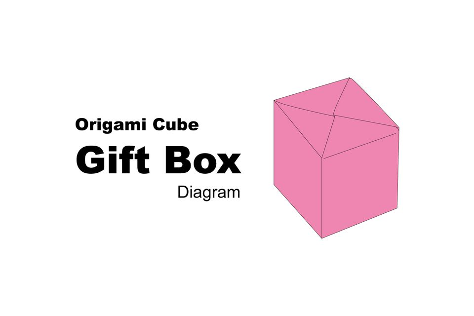 origami cube gift box diagram 1