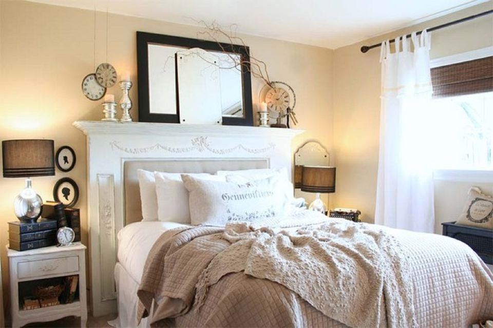 bedroom vintage ideas. Fireplace surround as headboard  Vintage Bedroom Decorating Ideas and Photos